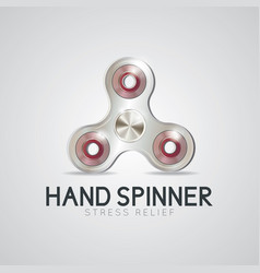 silver hand spinner fidget toy vector image