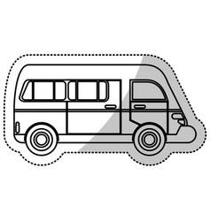 van transport vehicle urban outline vector image
