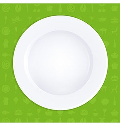 White Plate On Green Background vector image