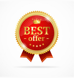 best offer sale label medal vector image