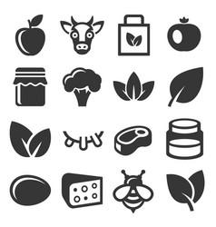 farm and organic food icons set vector image vector image