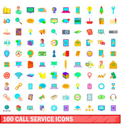 100 call service icons set cartoon style vector