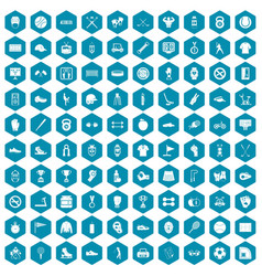 100 sport equipment icons sapphirine violet vector image