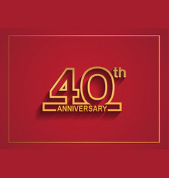 40 anniversary design with simple line style vector