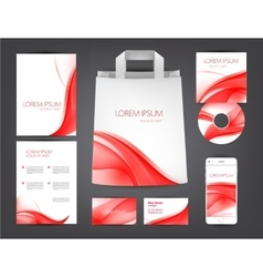 abstract identity set red wavy theme vector image