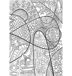Abstract Line art with doodle and zentagle style vector