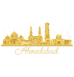 Ahmedabad india city skyline golden silhouette vector