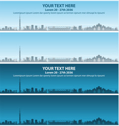 Ahmedabad skyline profile event banner vector