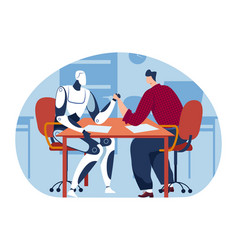 Arm wrestling with technology machine man human vector