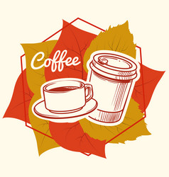 Autumn leaves and coffee cup and take away mug vector
