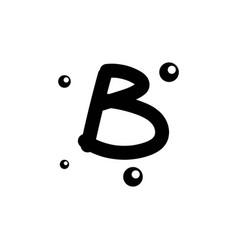 B hand drawn alphabet design template vector