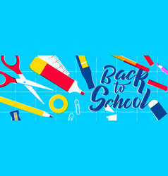 back to school web banner of class supplies vector image