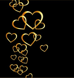 Background with golden hearts vector image