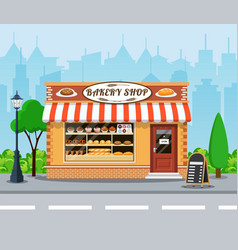 bakery shop front veiw flat icon vector image