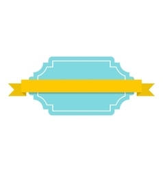Blue badge with yellow ribbon icon flat style vector