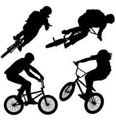 bmx bike riders on white background vector image