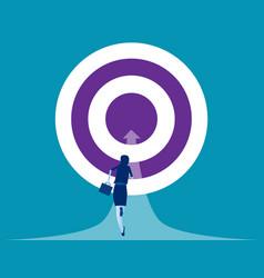 businesswoman running towards goal concept vector image