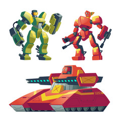 cartoon robot guards tank battle androids vector image