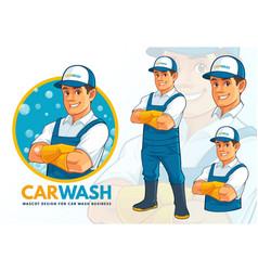 carwash mascot design set vector image