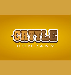 Cattle western style word text logo design icon vector