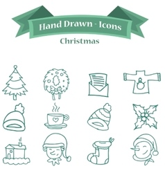 Collection stock Christmas icon set vector