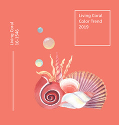 Color coral 2019 trendy sea shell marine life vector
