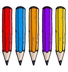 colored pencils hand drawn doodle vector image