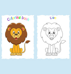 coloring book page for children with colorful lio vector image