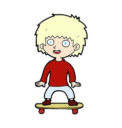 comic cartoon boy on skateboard vector image