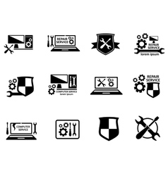 Computer service and repair symbols set vector