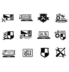 computer service and repair symbols set vector image