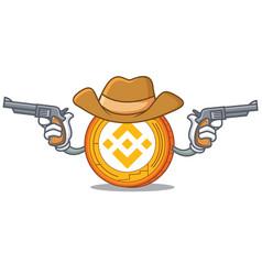 Cowboy binance coin character catoon vector