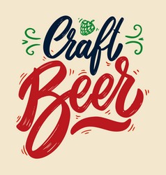 craft beer lettering phrase isolated on white vector image