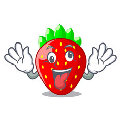 Crazy fresh strawberry in a bowl cartoon vector