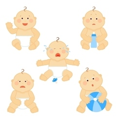 Crying baby toddler with milk bottle vector image