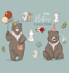 Cute birthday hares and bear collection vector