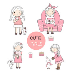 Cute girls cartoon hand drawn style vector