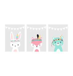 cute posters with little rabbit fox and bear vector image