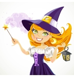 Cute young witch with magic wand and flashlight vector image vector image