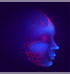 cyber robotic human face consisting lines mesh vector image