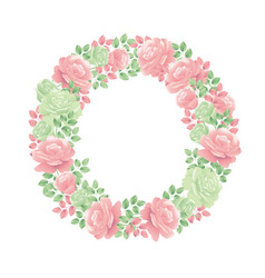 decorative tender rose flower wreath vector image