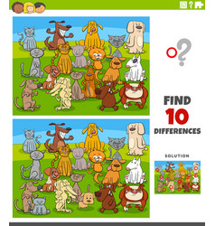 differences educational task with comic cats vector image