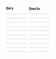 do and do not list on paper vector image