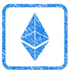 Ethereum framed stamp vector