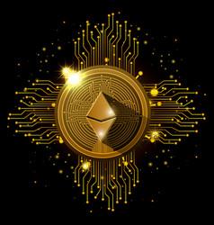 ethereum mining set icons vector image