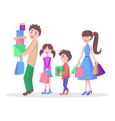 family shopping cartoon flat concept vector image