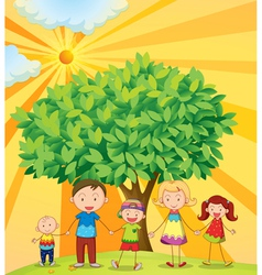 family under tree vector image