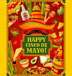 fiesta cinco de mayo mexican holiday celebration vector image