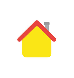 flat design style of house with red and flue vector image