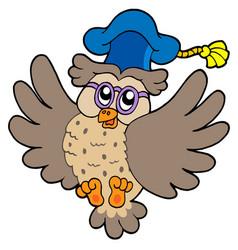Flying owl teacher vector